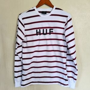 HUF white and Maroon striped long sleeve shirt Med